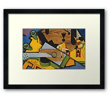 Juan Gris - Still Life With A Guitar. Abstract painting: abstract art, geometric,  Guitar, composition, lines, forms, creative fusion, spot, shape, illusion, fantasy future Framed Print