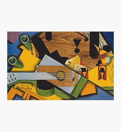 Juan Gris - Still Life With A Guitar. Abstract painting: abstract art, geometric,  Guitar, composition, lines, forms, creative fusion, spot, shape, illusion, fantasy future Photographic Print