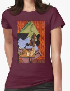 Juan Gris - Violin And Playing Cards On A Table. Abstract painting: abstract art, geometric, Table, Cards, lines, forms, creative fusion, spot, shape, illusion, fantasy future Womens Fitted T-Shirt