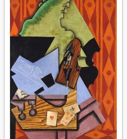 Juan Gris - Violin And Playing Cards On A Table. Abstract painting: abstract art, geometric, Table, Cards, lines, forms, creative fusion, spot, shape, illusion, fantasy future Sticker