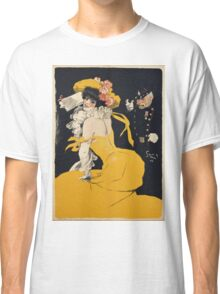 Jules Alexander Grun - Poster Of A Woman In A Yellow Dress. Woman portrait: sensual woman, girly art, female style, pretty women, femine, beautiful dress, cute, love, sexy lady, erotic pose Classic T-Shirt