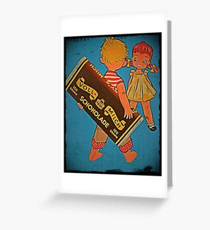 Boy Hiding Chocolate Bars Greeting Card