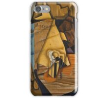Juan Gris - Man At The Cafe. Abstract painting: abstract art, geometric, expressionism, composition, lines, forms, creative fusion, spot, shape, illusion, fantasy future iPhone Case/Skin