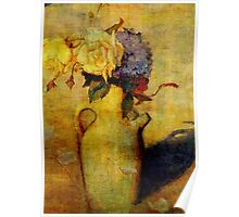Jug with Yellow and Violet Flowers Poster