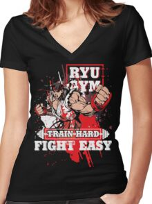 RYU GYM Women's Fitted V-Neck T-Shirt