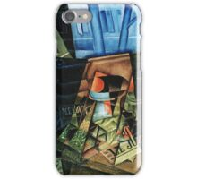 Juan Gris - Still Life Before An Open Window, Place Ravignan. Abstract painting: art, geometric, expressionism, composition, lines, forms, creative fusion, spot, shape, illusion, fantasy future iPhone Case/Skin
