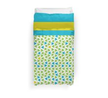 Mosaic with Stripe - Lime Green & Blue Duvet Cover