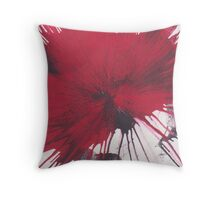 Red and Black paint splat Throw Pillow