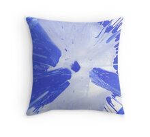 Blue and White paint splat Throw Pillow