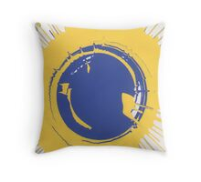 Blue and Yellow paint splat Throw Pillow