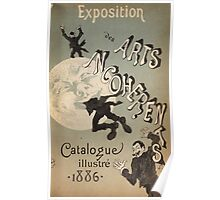 Jules Cheret - Cover Illustration For Exposition Des Arts Incoherents. People portrait: party, man, people, family, male, peasants, crowd, romance,  men, city, home society Poster