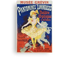 Jules Cheret - French Poster For Early Motion Picture Pantommes Lumineuses. Dancer painting: dance, ballet, dancing woman, ballerina, tutu, femine, women, dancer, disco, dancers, girls Canvas Print
