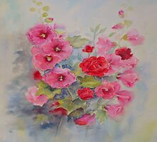 Pillow Hollyhocks 2 by Beatrice Cloake