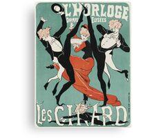 Jules Cheret - L Horloge Les Girard. Dancer painting: dance, ballet, dancing woman, ballerina, tutu, femine, women, dancer, disco, dancers, girls Canvas Print