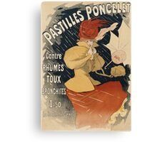 Jules Cheret - Pastilles Poncelet Poster. Dancer painting: dance, ballet, dancing woman, ballerina, tutu, femine, women, dancer, disco, dancers, girls Canvas Print