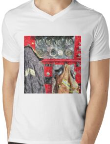 Fire Truck Mens V-Neck T-Shirt