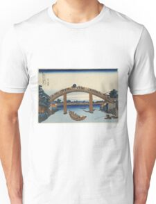 Katsushika Hokusai - Under Mannen Bridge at Fukagawa. River landscape: trees, river, fishermen, bridge,  fuji,  boat, mountain, mount, sun and clouds, nautical panorama, tokyo Unisex T-Shirt