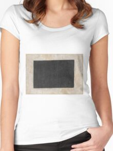 Kazimir Malevich - Black Quadrilateral. Abstract painting: abstract art, geometric, expressionism, composition, lines, forms, creative fusion, spot, shape, illusion, fantasy future Women's Fitted Scoop T-Shirt