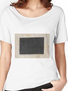 Kazimir Malevich - Black Quadrilateral. Abstract painting: abstract art, geometric, expressionism, composition, lines, forms, creative fusion, spot, shape, illusion, fantasy future Women's Relaxed Fit T-Shirt