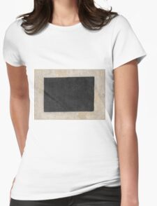 Kazimir Malevich - Black Quadrilateral. Abstract painting: abstract art, geometric, expressionism, composition, lines, forms, creative fusion, spot, shape, illusion, fantasy future Womens Fitted T-Shirt