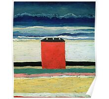Kazimir Malevich - Red House. Abstract painting:  beach, building, sea,  house, horizon,  water, creative fusion, spot, shape, illusion, fantasy future Poster
