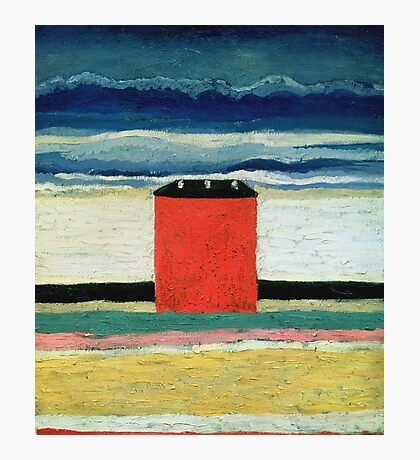 Kazimir Malevich - Red House. Abstract painting:  beach, building, sea,  house, horizon,  water, creative fusion, spot, shape, illusion, fantasy future Photographic Print