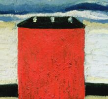 Kazimir Malevich - Red House. Abstract painting:  beach, building, sea,  house, horizon,  water, creative fusion, spot, shape, illusion, fantasy future Sticker