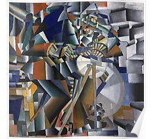 Kazimir Malevich - The Knife Grinder Or Principle Of Glittering. Abstract painting: art, geometric, expressionism, composition, lines, forms, creative fusion, spot, shape, illusion, fantasy future Poster