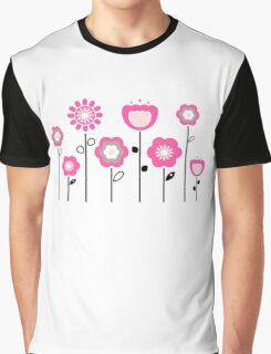 Stylized abstract pink and black flowers. Vector Graphic T-Shirt