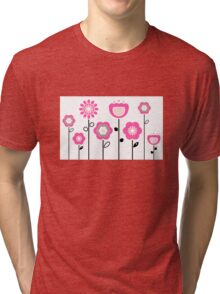 Stylized abstract pink and black flowers. Vector Tri-blend T-Shirt
