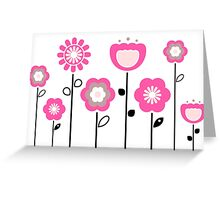 Stylized abstract pink and black flowers. Vector Greeting Card