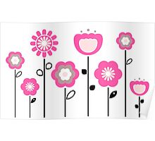Stylized abstract pink and black flowers. Vector Poster