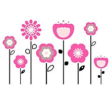 Stylized abstract pink and black flowers. Vector Photographic Print