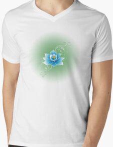 Blue Lotus Flower Mens V-Neck T-Shirt