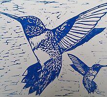 Bright Blue Ink Humming Birds by CarmenH