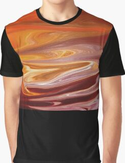 Red-Orange Abstract Graphic T-Shirt