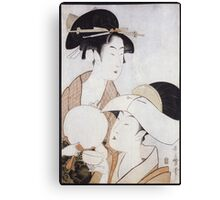 Kitagawa Utamaro - Bust Portrait Of Two Women, One Holding A Fan, The Other With A Head Cover Holding A Tea Cup. Woman portrait: sensual woman, geisha, female style, pretty women, femine, love Canvas Print