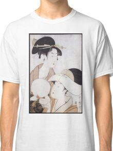 Kitagawa Utamaro - Bust Portrait Of Two Women, One Holding A Fan, The Other With A Head Cover Holding A Tea Cup. Woman portrait: sensual woman, geisha, female style, pretty women, femine, love Classic T-Shirt