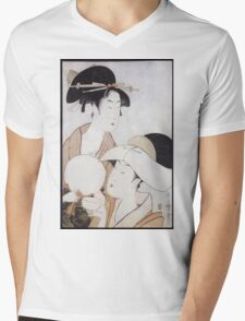 Kitagawa Utamaro - Bust Portrait Of Two Women, One Holding A Fan, The Other With A Head Cover Holding A Tea Cup. Woman portrait: sensual woman, geisha, female style, pretty women, femine, love Mens V-Neck T-Shirt