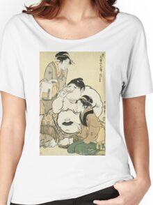 Kitagawa Utamaro - Daidozan Bungoro, The Infant Prodigy Drinking Sake. People portrait: party, woman and man,  Samurai, geisha , female and male,  women and men, people, beautiful dress Women's Relaxed Fit T-Shirt