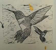 Pretty black ink hummingbirds on petal paper by CarmenH