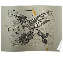 Pretty black ink hummingbirds on petal paper Poster