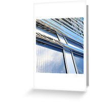 modern contemporary tower detail closup of facade glass pannels Greeting Card