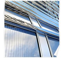 modern contemporary tower detail closup of facade glass pannels Poster