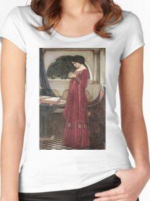 John William Waterhouse - The Crystal Ball . Woman portrait: sensual woman, girly art, female style, pretty women, femine, beautiful dress, cute, creativity, love, sexy lady Women's Fitted Scoop T-Shirt