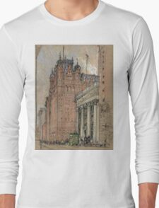 Joseph Pennell - Waldorf Astoria Hotel. Urban landscape: city view, streets, building, house, trees, cityscape, architecture, construction, travel landmarks, panorama garden, buildings Long Sleeve T-Shirt