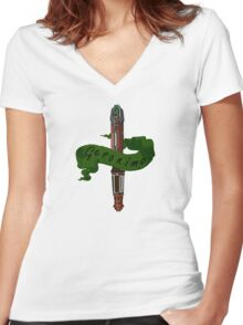 Geronimo Sonic Screwdriver Women's Fitted V-Neck T-Shirt