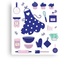 Retro set for baking or cooking. Vector Illustration Canvas Print
