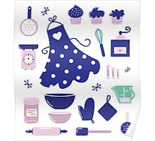 Retro set for baking or cooking. Vector Illustration Poster