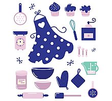 Retro set for baking or cooking. Vector Illustration Photographic Print